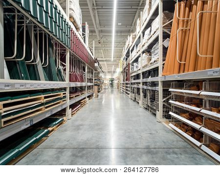 Store For Home Improvement And Diy. Warehouse Aisle Of Building Materials In Industiral Store. Shall