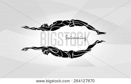 Swimming Sport Silhouette. Swimmers Vector Illustration Eps10