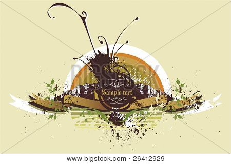 decorative abstract background with urban scene,vector