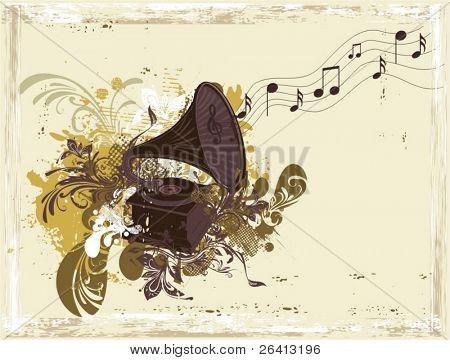 gramófono de fondo retro música en grunge erosionadas de papel & adornos florales, vector illustration