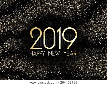 2019 Happy New Year Card, Fashionable Gold Confetti. 2019 Holiday Card, Banner Or Party Poster Desig