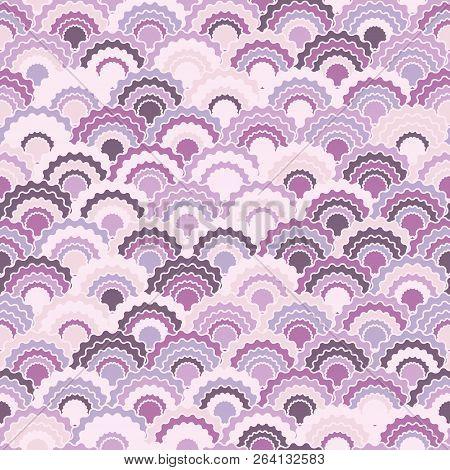 Trendy Fish Scales Squama Background, Vector Seamless Fabric Pattern, Tiled Textile Print. Tradition