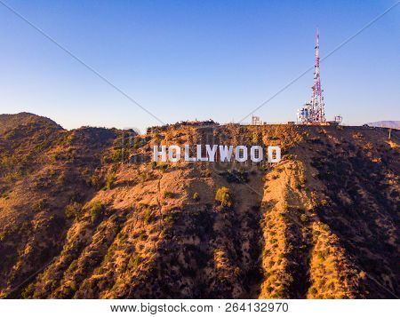 August 10, 2018. Los Angeles, Usa. Hollywood Sign Aerial View On The Hollywood Hills.