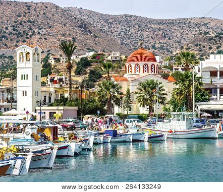 Harbor Town Of Elounda On The Island Of Crete. Greece