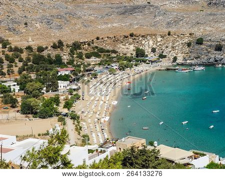 Lindos Beach On The Island Of Rhodes. Greece