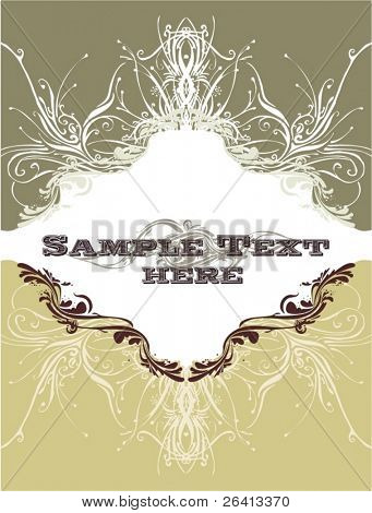 vintage cover design with floral borders & ornaments,vector illustration