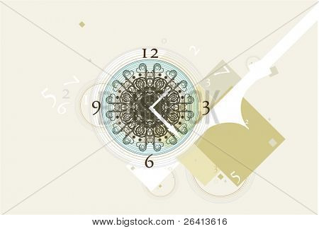 antique clock on abstract background,vector