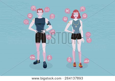 Sport Man And Sport Woman Wearing Wearable Smart Devices Technology. Line Icons Of Wearable Technolo