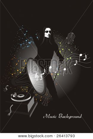 Music-background, singer with microphone& gramophone