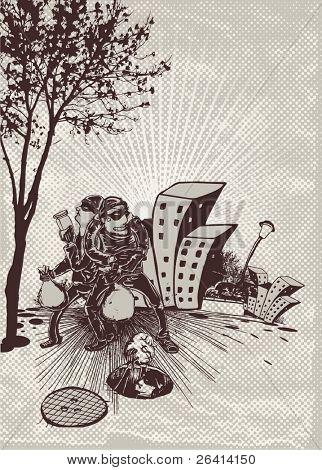 bandits escape,vector illustration