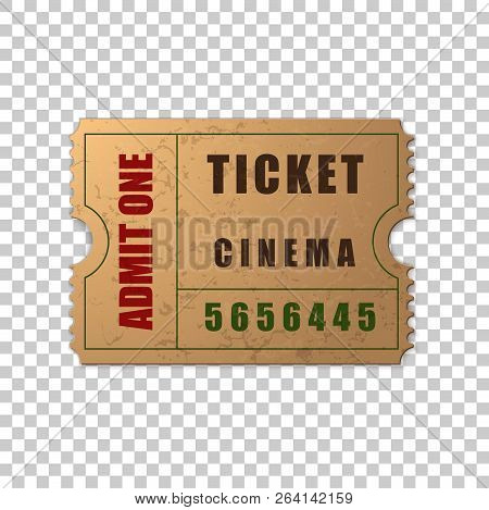 Realistic Vintage Retro Cinema Ticket Isolated Object On Transparent Background. Cinema, Theater, Co
