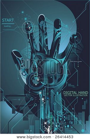 vector illustration of a high tech security concept