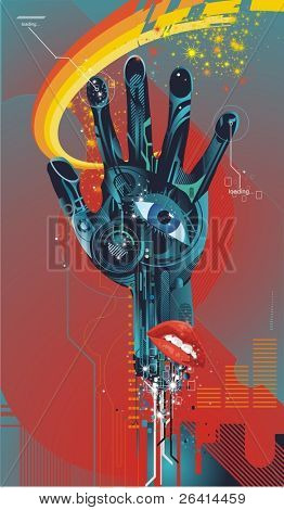 cybernetic hand with eye and mouth ,vector illustration