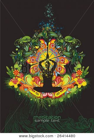 colorful modern design with a meditating silhouette sitting in lotus position surrounded by colorful ornaments