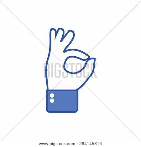 Hand Gesture With Ok, Oaky Sign. Social Icon. Hand Gesture. Like Gesture. Hand Shows Gesture Of Ok,