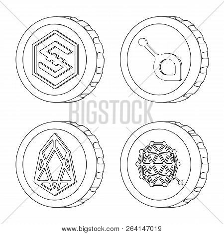 Isolated Object Of Cryptocurrency And Coin Logo. Collection Of Cryptocurrency And Crypto Stock Symbo