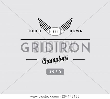 American Football Gridiron Touchdown Black On White Is A Vector Illustration About Sport