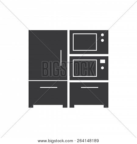 Kitchen Electronic Furniture Vector Icon On White Background. Kitchen Electronic Furniture Icon In M