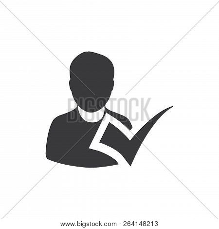 Checked Person Vector Icon On White Background. Checked Person Icon In Modern Design Style. Checked