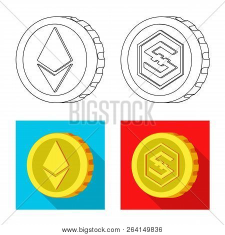 Isolated Object Of Cryptocurrency And Coin Symbol. Collection Of Cryptocurrency And Crypto Stock Vec