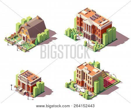 Vector Isometric Educational Buildings Set. Includes School, Preschool Or Kindergarten, University A