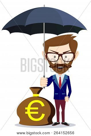 A Businessman With Beard Standing Holding Umbrella Protecting His Money To Investments, Money Manage