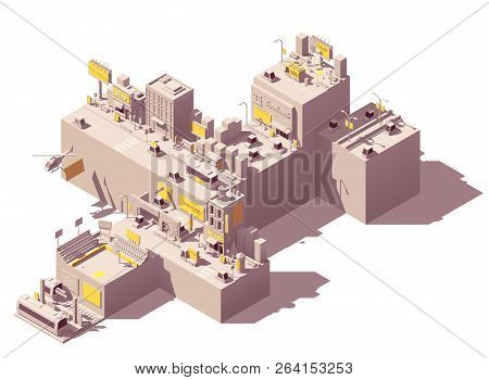 Vector Isometric City With Outdoor Advertising Examples Like Billboard And Citylight On The Streets,