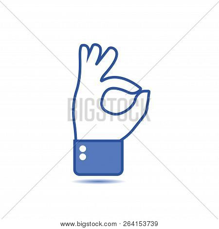 Hand Gesture With Ok Sign, Okay Sign. Social Icon. Hand Gesture. Like Gesture. Hand Shows Gesture Of