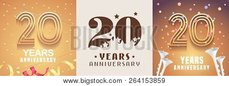 20 Years Anniversary Set Of Vector Icon, Symbol. Graphic Design Element With Festive Golden Backgrou