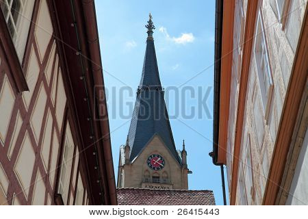 View of the church in the historic Old Town M?ckm?hl Baden-Wuerttemberg, Germany poster