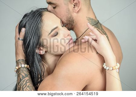 Romantic couple. Sensual and intimate moment of lovers. Feeling and emotion. Man enjoying foreplay with sexy lady poster