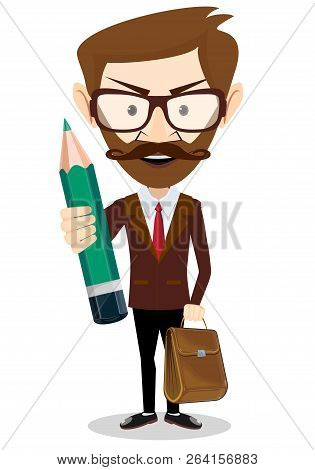 Happy Businessman Holding A Pencil. Stock Flat Vector Illustration.