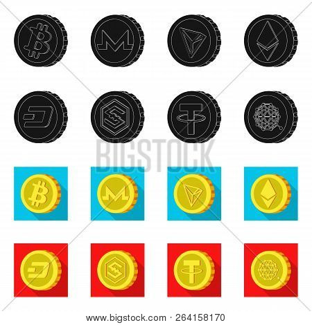 Isolated Object Of Cryptocurrency And Coin Logo. Collection Of Cryptocurrency And Crypto Stock Vecto