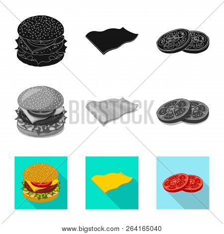Vector Design Of Burger And Sandwich Sign. Set Of Burger And Slice Vector Icon For Stock.