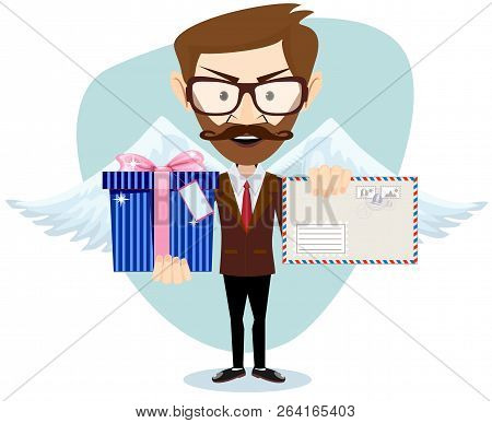 Young Handsome Angel Man-hipster With Wings A Heart And Letter . Stock Vector Illustration