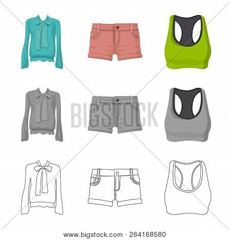 Vector Design Of Woman And Clothing Logo. Collection Of Woman And Wear Stock Vector Illustration.