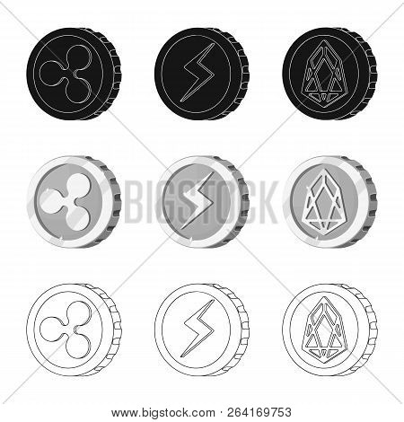 Vector Illustration Of Cryptocurrency And Coin Sign. Collection Of Cryptocurrency And Crypto Vector