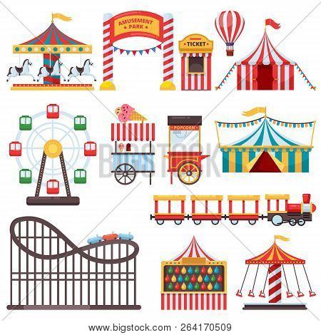 Amusement Park Isolated Icons. Vector Flat Illustration Of Circus Tent, Carousel, Ferris Wheel. Carn