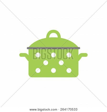 Colorful Vector Casserole Pot Cartoon. Green Saucepan Decorated With White Dots. Dotted Green Pot.