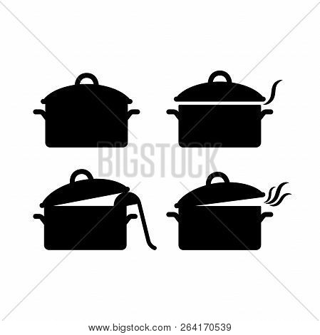 Black Isolated Pot Casserole Vector Icon Set. Saucepan Silhouette Open And Closed With Steam And Sou