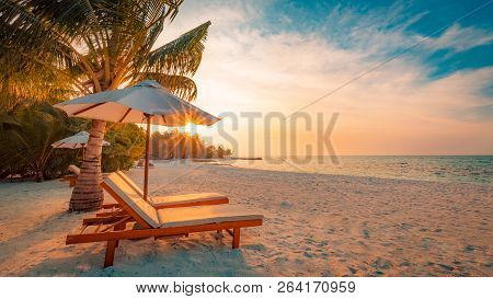 Perfect Beach Scene. Idyllic Tropical Beach Landscape For Background Or Wallpaper. Design Of Tourism