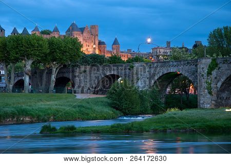Old Bridge Of Carcassonne, Languedoc-roussillon In  France.