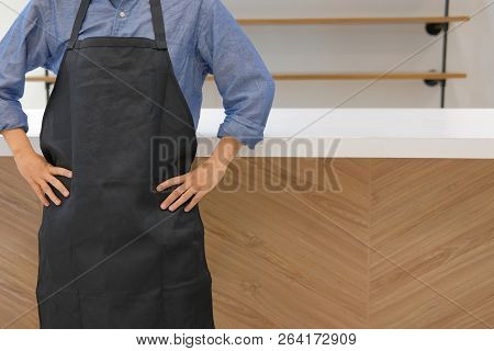 Business Owner Wearing Apron Standing At Cafe Coffee Shop Cafeteria Restaurant Counter Bar