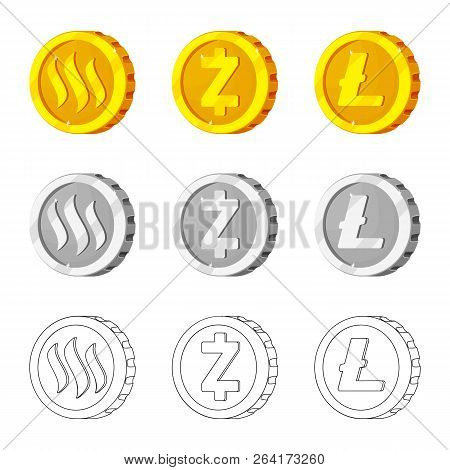 Vector Illustration Of Cryptocurrency And Coin Symbol. Set Of Cryptocurrency And Crypto Vector Icon