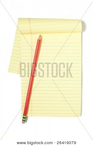 A Legal Pad isolated on White with a Red Pencil