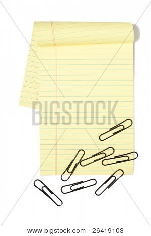 A Legal Pad Isolated on white with paper clips poster