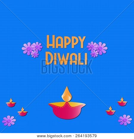 Happy Diwali Greeting With Diya Or Lights