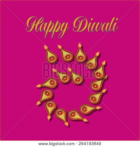 Happy Diwali Greeting With Diya Or Lights.