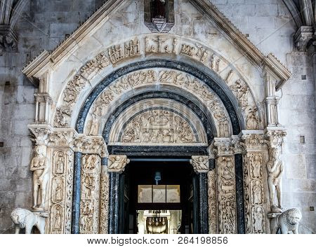 13th Century Portal Of The St. Lawrence Cathedral In Trogir, Croatia, Carved By The Local Architect