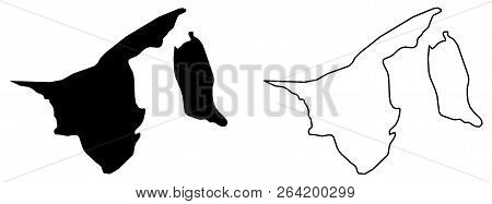 Simple (only Sharp Corners) Map Of Brunei Vector Drawing. Mercator Projection. Filled And Outline Ve